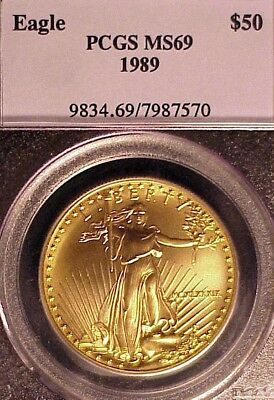 1989 $50 American Gold Eagle  ** Pcgs Ms69 ** True Auction!