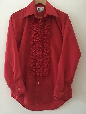 Vtg Rare 60s 70s Men's After Six Ruffled Red Psychedelic Tuxedo Shirt sz Medium