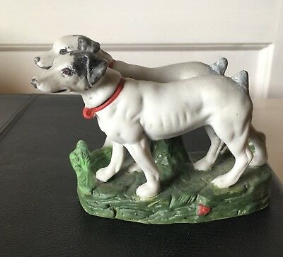 Antique Dog Figurine Two Jack Russell Terriers on Base Bisque 3 1/4""