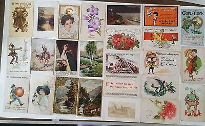 Vintage Lot of  25 Assorted Early 1900's Novelty & Greeting Postcards