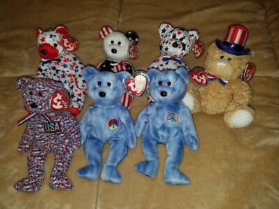 Ty Beanie Baby Babies Lot of 7 Rare Original America USA Peace Teddy Bears MWMT!