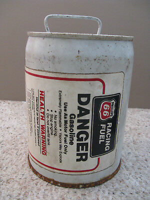 """Vintage Phillips 66 Metal Racing Fuel Can 9"""" Tall"""