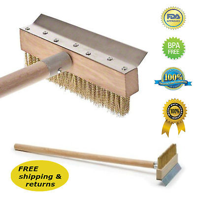 "39"" Pizza Oven Brush Wood Handle Metal Bristles and Scraper Professional Quality"