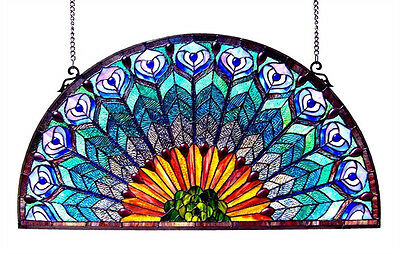 """Stained Glass Peacock Design Tiffany Style Window Panel 35"""" Long x 18"""" Tall"""