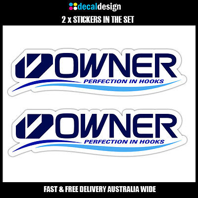 OWNER HOOKS Decal x2 22cm wide stickers to suit Fishing Boat Tackle box tinnie