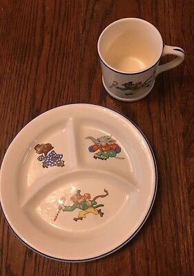 Vintage Crown Pottery Co #949 Circus Animals 3 Divided Bowl And Matching Cup