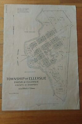 Vintage Surveyors Map Ellerslie Township 1954 On Cloth/ Canvas 480 X 680 Mm