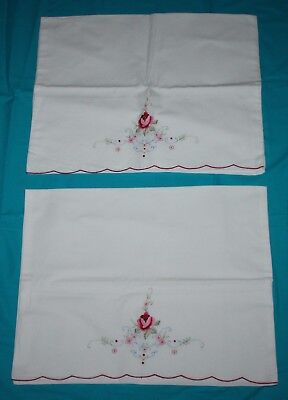 Pair Vintage Embroidered Pillowcases