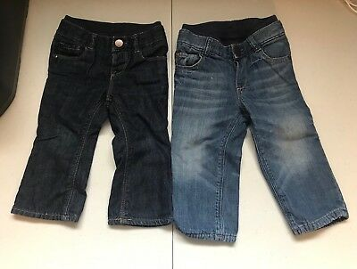 2 Pairs Of Kids Gap Jeans Size 12-18 And 18-24 Months Stone Wash Blue!!