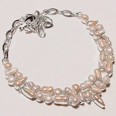 Free Post: New  Handcrafted Biwa River Pearls 925 Sterling Silver Necklace