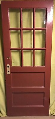 Antique Craftsman Exterior Wood French Entry Door /w Glass 32x80 /w 9 Panes