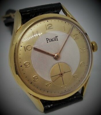 PIAGET TWO TONE DIAL OVERSIZED 37mm VINTAGE MAN WATCH 18K GOLD FILLED CASE