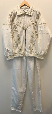Vtg 90s Great Cavalier White & Gold Fresh Prince Track Suit Jacket & Pants M