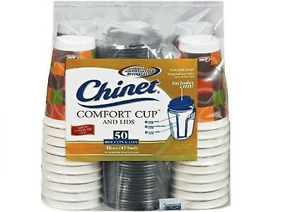 CHINET COMFORT Coffee Cups & Lids 50-COUNT Triple-Wall INSULATED 16-oz HOT COLD
