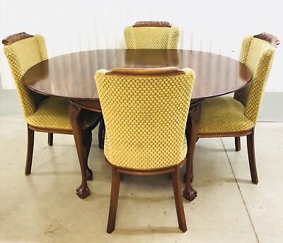 Antique c.~Early 20th Cent. English Mahogany Round Table & 4 Claw & Ball Chairs