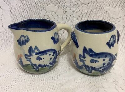 M A Hadley Louisville Pottery Creamer Sugar Bowl Farm Pigs Handpainted