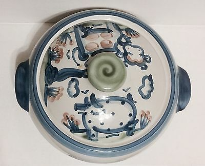 M A Hadley Pottery 1.5 Qt Covered Casserole Pig Cow Country Farm