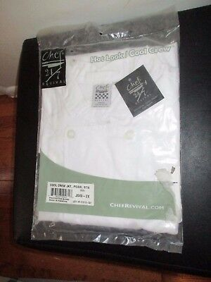 NWT Men's Chef Revival Cool Crew White Pearl Button Jacket S/S Culinary 2XL XXL