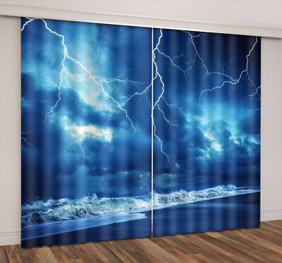2 Panels Thunder Storm 3D Blockout Fabric Photo Print Window Curtain Drapes