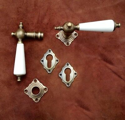 Rosette Fitting with Porcelain Handles for Antique House Doors, Brass Door