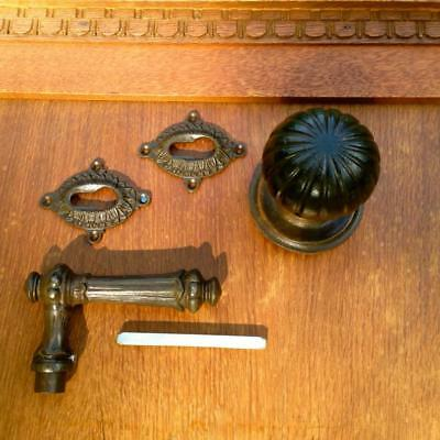 DOOR HANDLES FOR FRONT - Knob with Jack + Rosettes pz-schloss Like Antique