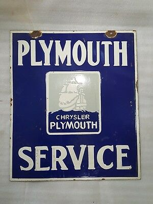old vintage  PORCELAIN PLYMOUTH 2SIDED 18 X 21 enamel sign