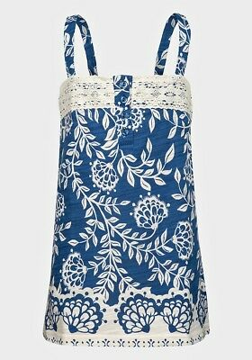 BNWT Girls Blue and Cream Floral Pattern Cotton Summer Top Ages 7, 10 & 14 Years
