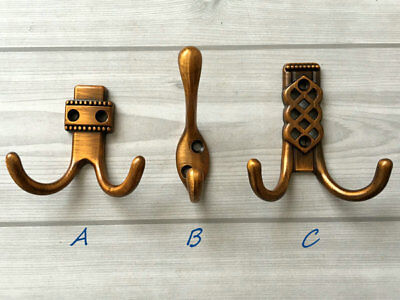 Wall Hook Coat Double Hooks Hanger Towel Hangers Antique Brass Copper Decorative