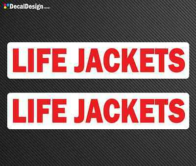 LIFE JACKETS Decals x 2 Queensland boat safety sticker graphics