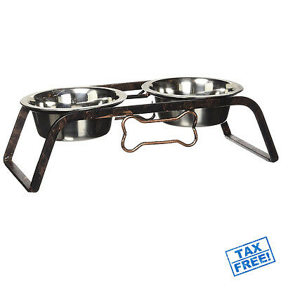 Double Bowl Dog Cat Feeder Elevated Stand Raised Dish Feeding Food Water Pet
