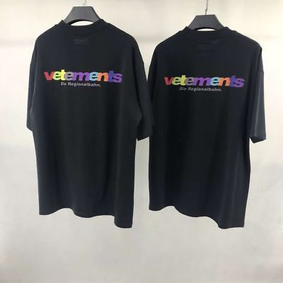 Falectoin 18SS Vetements Colorful Letters Die Print Cotton Short Sleeve Tshirt