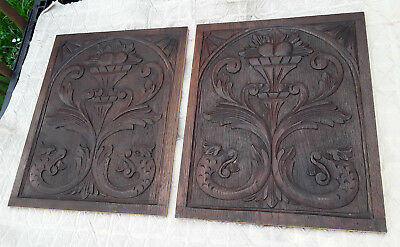 French Antique Pair Of Panel Wood Carved  Dragon Chimera Griffin Gothic