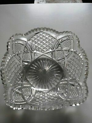 Sunday Market#vintage Hand-Cut Glass/crystal Scalloped Octagonal Saw-Tooth Bowl
