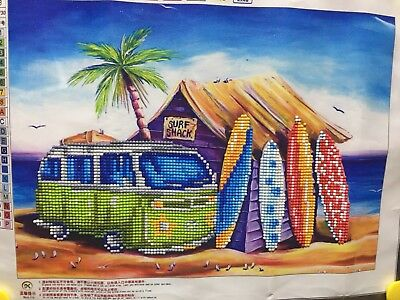 Completed 5D Diamond Painting Embroidery SURF SHACK