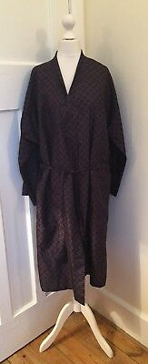"""Vintage ST.MICHAEL M&S Blue Red Paisley Silky Summer Dressing Gown Robe 40/42"""""""
