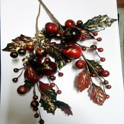 Christmas Ornaments - 2 Sprigs Of Christmas Berries