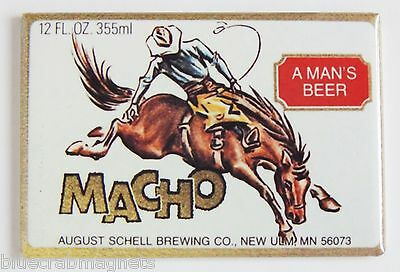 Macho Beer FRIDGE MAGNET (2 x 3 inches) rodeo horse cowboy label