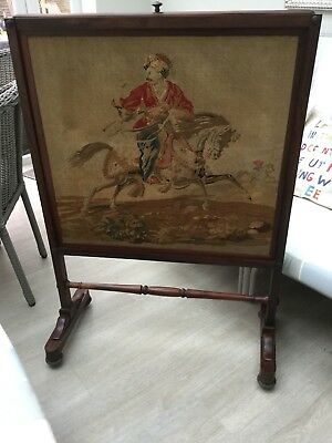 Antique Fire Screen. Mahogany Frame. Petit Point Image.