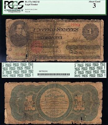 """""""Lowball"""" Registry PCGS About Good 3 1862 $1 """"GREENBACK"""" US Note! FREE SHIP!"""