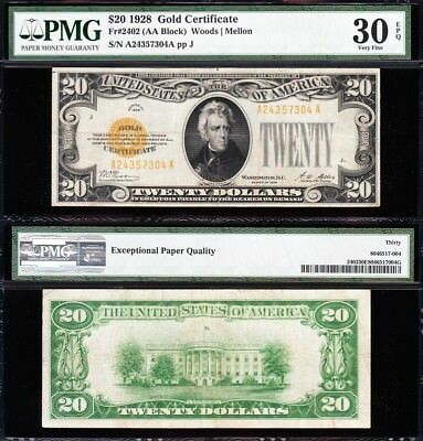 AWESOME Bold & Crisp Choice VF++ 1928 $20 *GOLD CERTIFICATE*! PMG 30 EPQ! 57304A