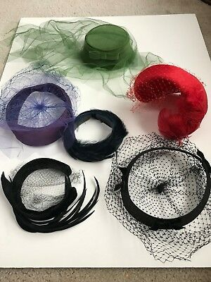 Lot Of 6 Vintage Womens Hats Veils Feathers Headbands Various Colors From Estate