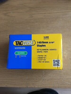 5,000 Tacwise 0341 Type 140 Series 8mm Staples Fits For Stanley G11, Arrow T-50