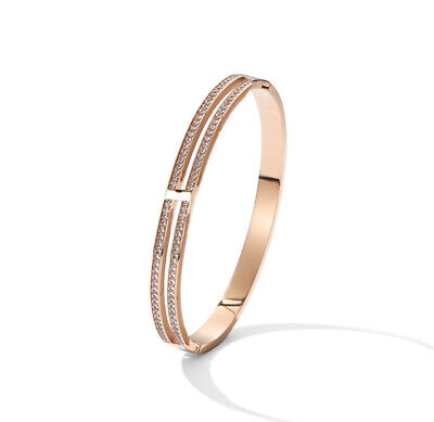 14K Rose Gold With Double Crystals Womens Stainless Steel Bangle Bracelet Gift