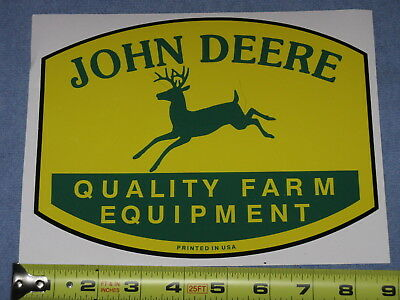 "JOHN DEERE 8.25"" QFE 1950's PRINTED IN USA LOGO DECAL STICKER TRACTOR GATOR"