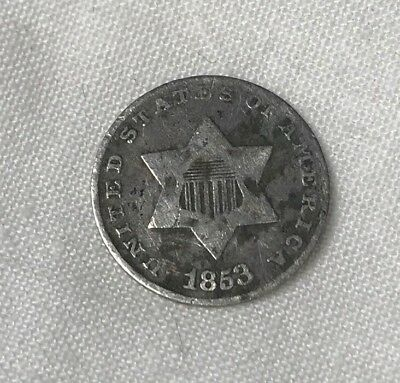 U.S. Silver Trime 3 Cent Piece 1853