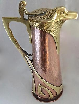 Outstanding WMF Secessionist Art Nouveau Copper Jug, Pitcher: Eagle Head