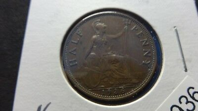 UK Great Britain  1936  1/2 Half Penny  coin