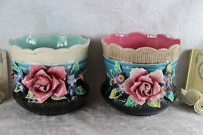 PAIR 1900 French Barbotine Majolica Relief floral jardiniere planter antique