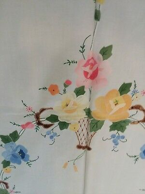 Large Banquet applique embroidered cutwork Tablecloth and 12 napkins MINT unused