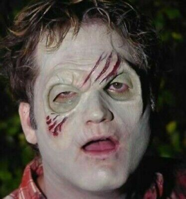 Zombie Half face latex prosthetic cosplay adults mens mask Halloween fancy dress